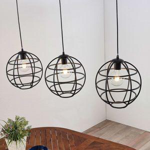 Klietková závesná lampa, tri svetlá, podlhovastá