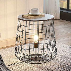 Lindby Winnie opletená stojaca lampa drevená doska
