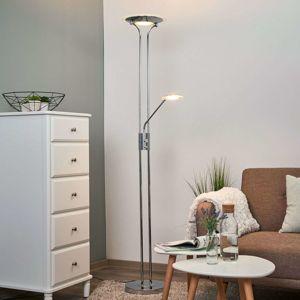 Stojaca LED lampa s lampou na čítanie Aras chróm