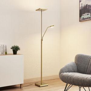 Lindby Lindby Sumani LED stojaca lampa, hranatá, mosadz